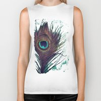 peacock feather Biker Tanks featuring Peacock Feather by KunstFabrik_StaticMovement Manu Jobst