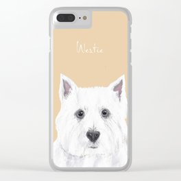 Westie on Pink Clear iPhone Case