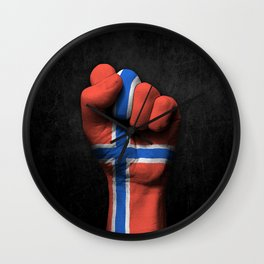 Norwegian Flag on a Raised Clenched Fist Wall Clock