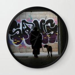 Woman and dog, graffiti Wall Clock
