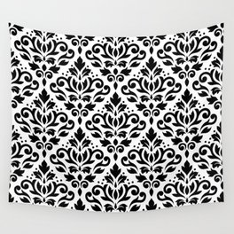 Scroll Damask Big Pattern Black on White Wall Tapestry