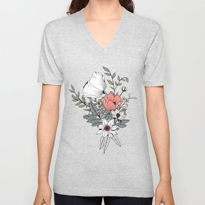 Seamless pattern design with hand drawn flowers and floral elements Unisex V-Neck