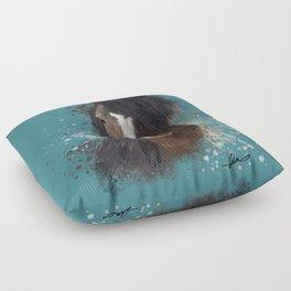 Black Brown Horse Artwork Floor Pillow