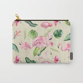 Tropical pink green ivory watercolor flamingo floral Carry-All Pouch