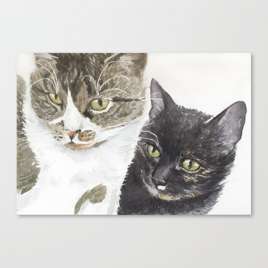 Two cats - tabby and tortie Canvas Print