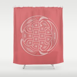 White Circle and Geometric Shapes on Apricot Shower Curtain