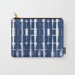 Shibori Stripes 3 Indigo Blue Carry-All Pouch