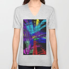 Abstract, geometrical, dimensional, colored. Unisex V-Neck