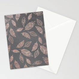 Rose gold hand drawn boho feathers hand drawn grey industrial concrete cement Stationery Cards