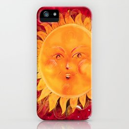 Digital painting of a chubby sun with a funny face iPhone Case