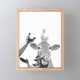 Black and White Farm Animal Friends Framed Mini Art Print