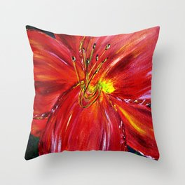 Pinks and Red Daylily Throw Pillow