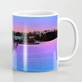 Fences on a winter sundown Coffee Mug