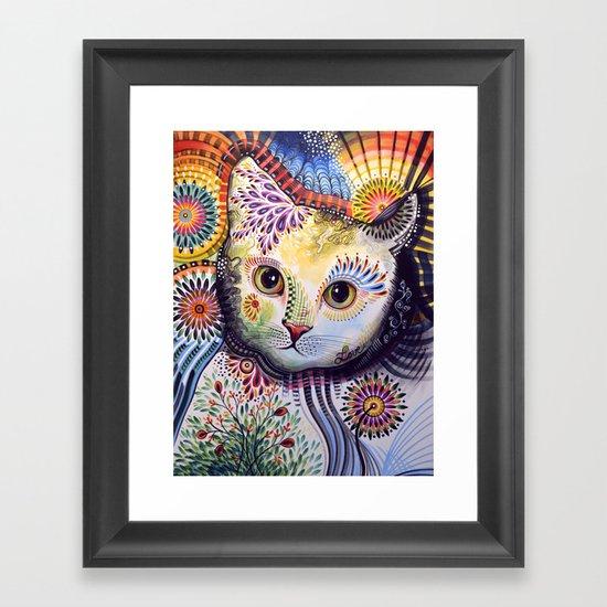Lucy ... Abstract cat art Framed Art Print
