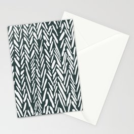 Dark green herringbone pattern Stationery Cards