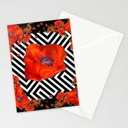 BLACK ORANGE POPPIES MODERN ART GARDEN Stationery Cards