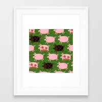 pigs Framed Art Prints featuring Pigs by Paper Bicycle