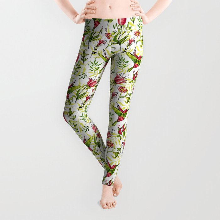 Hummingbird and flowers Leggings