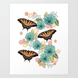 Swallowtail Butterflies - swallowtail butterfly art, floral art, butterfly print, insect, nature study Art Print