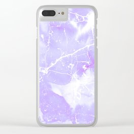 Modern abstract blush violet white marble pattern Clear iPhone Case