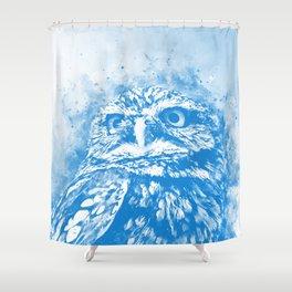 owl portrait 5 wswb Shower Curtain