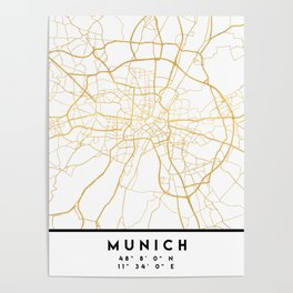 MUNICH GERMANY CITY STREET MAP ART Poster