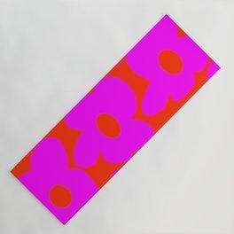 Pink Retro Flowers Orange Red Background #decor #society6 #buyart Yoga Mat