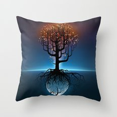 Tree, Candles, and the Moon Throw Pillow