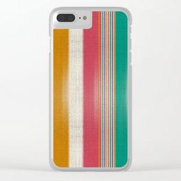 """Colorful Vertical Lines Burlap Texture"" Clear iPhone Case"