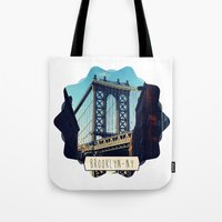 brooklyn Tote Bags featuring BROOKLYN by Alexandre Ormond