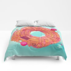 Space Donut City // 3D ABSTRACT Comforters