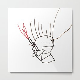Charming space hero with laser pistol. Metal Print