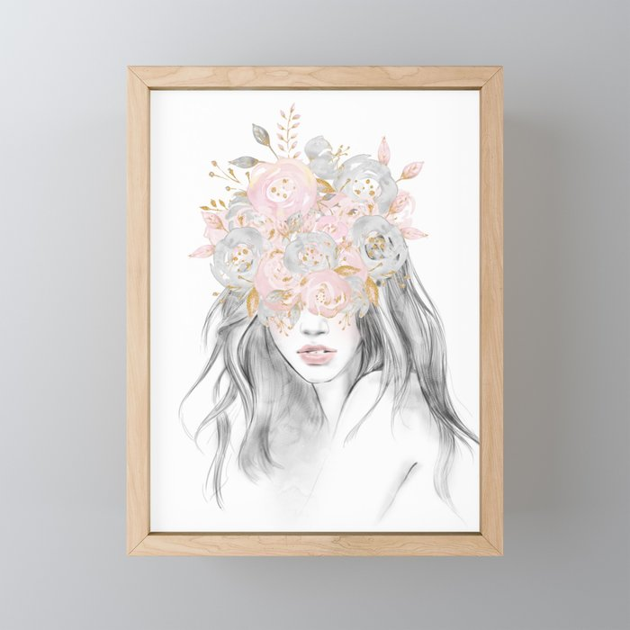 She Wore Flowers in Her Hair Rose Gold by Nature Magick Framed Mini Art Print