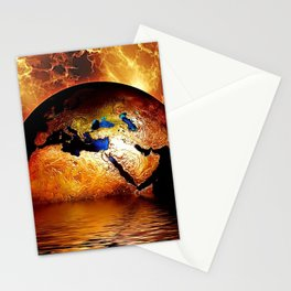 Planet Earth - Globe Photograph - Gold Sky Stationery Cards