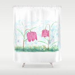 "Wildflowers ""Fritillaria meleagris"" Shower Curtain"
