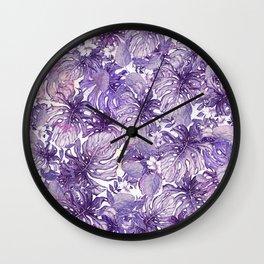 Tropical Foliage # Purple Wall Clock