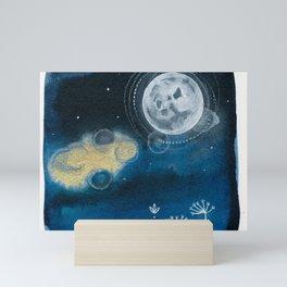 Moon Series #5 Watercolor + Ink Painting Mini Art Print