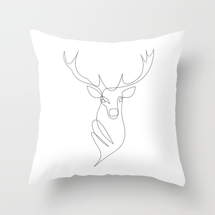 oh deer - one line Throw Pillow