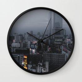 Desolated skies at Shibuya crosswalk Wall Clock