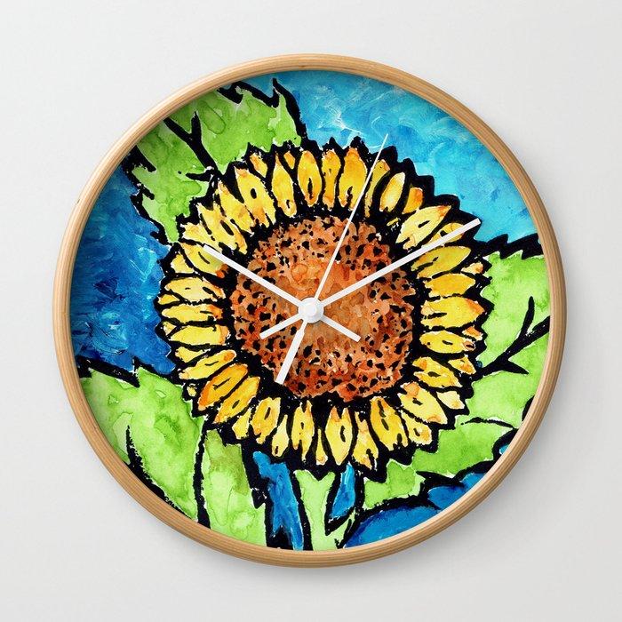 Modern Style Sunflower Painting Wall Clock
