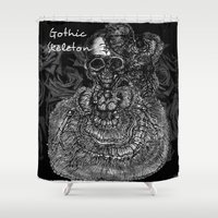 gothic Shower Curtains featuring Gothic Skeleton by AKIKO