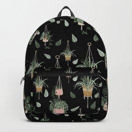 Modern Boho Macrame Plant Hangers Pattern Black Backpack