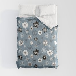 Black and White Flowers on Blue Comforters