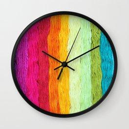 Rainbow Yarn Wall Clock
