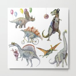 PARTY OF DINOSAURS Metal Print