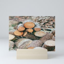 Firewood   Sawn logs of trees   Nature Photography Mini Art Print