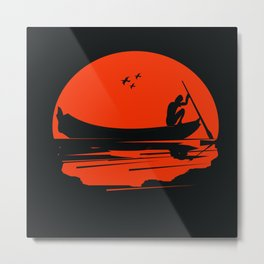 fisherman silhouette Metal Print