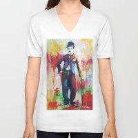 charlie chaplin V-neck T-shirts featuring Charlie Chaplin by Marta Zawadzka