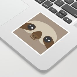 funny and cute smiling Three-toed sloth on brown background Sticker