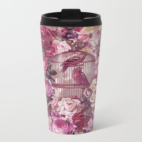 Vintage Bird Cage Flower Pattern Retro Illustration Metal Travel Mug